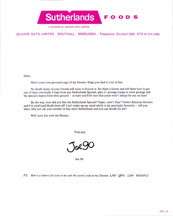 Covering letter with the Joe 90 Dossier